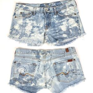 Custom bleached 7FAM cutoff jean shorts, size 29
